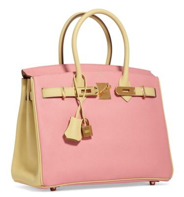 A CUSTOM ROSE CONFETTI & JUANE POUSSIN EPSOM LEATHER BIRKIN 30 WITH GOLD HARDWARE
