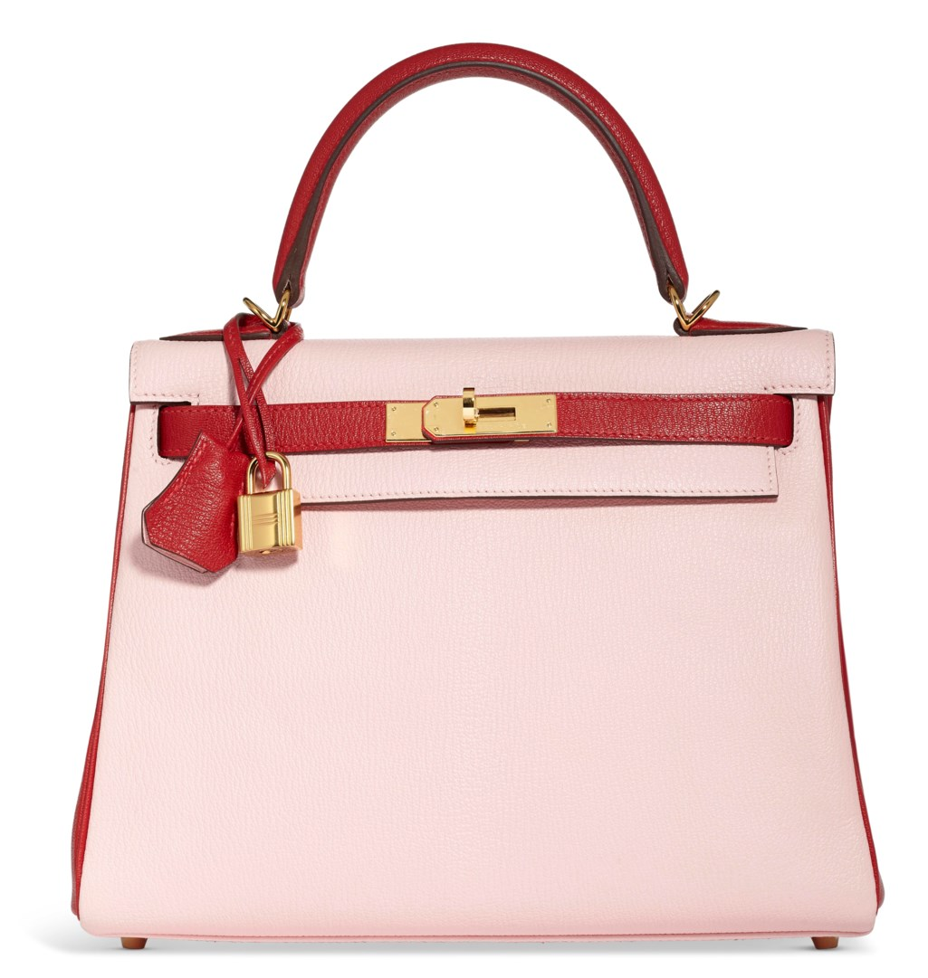 A CUSTOM ROSE SAKURA & ROUGE GARANCE CHÉVRE LEATHER SELLIER KELLY 28 WITH GOLD HARDWARE