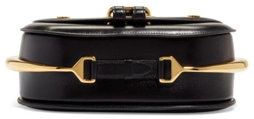A BLACK CALFBOX LEATHER PASSE-GUIDE WITH GOLD HARDWARE
