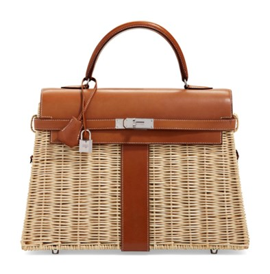 A LIMITED EDITION NATUREL BARÉNIA LEATHER & OSIER PICNIC KELLY 35 WITH PALLADIUM HARDWARE