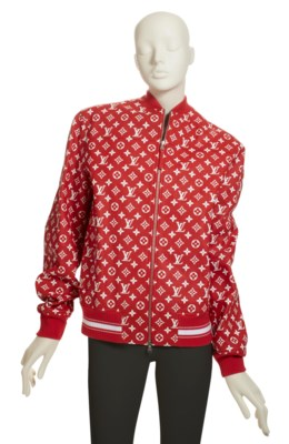 A RED & WHITE LEATHER BOMBER JACKET BY SUPREME