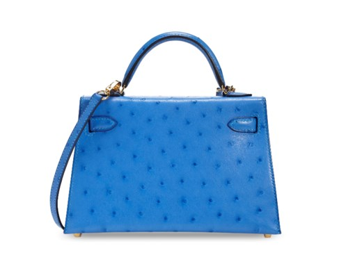 A BLEUET OSTRICH MINI KELLY 20 II WITH GOLD HARDWARE