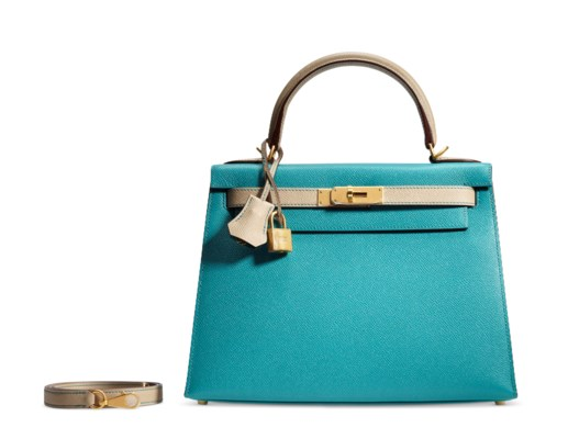 A CUSTOM BLEU PAON & TRENCH EPSOM LEATHER SELLIER KELLY 28 WITH BRUSHED GOLD HARDWARE