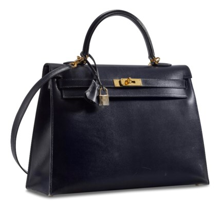 AN INDIGO CALFBOX LEATHER SELLIER KELLY 35 WITH GOLD HARDWARE