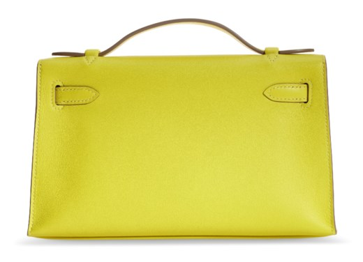 A LIME SWIFT LEATHER KELLY POCHETTE WITH GOLD HARDWARE