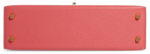 A ROSE LIPSTICK CHEVRE LEATHER MINI KELLY 20 II WITH GOLD HARDWARE