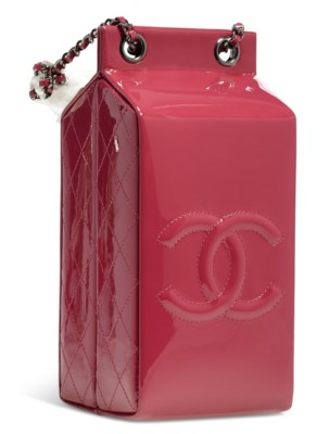 A LIMITED EDITION DARK PINK PATENT LEATHER MILK CARTON BAG