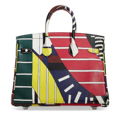 A LIMITED EDITION MULTICOLOUR SWIFT LEATHER ONE TWO THREE & AWAY WE GO BIRKIN 25 WITH PALLADIUM HARDWARE BY NIGEL PEAKE