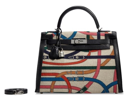 A LIMITED EDITION TOILE DE CAMP CAVALCADOUR & BLACK SWIFT LEATHER SELLIER KELLY 32 WITH PALLADIUM HARDWARE