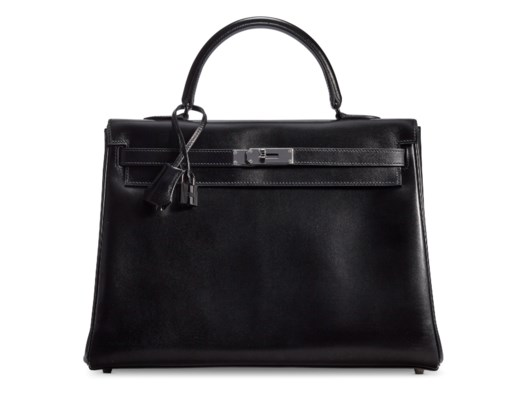 A LIMITED EDITION BLACK CALFBOX LEATHER SO BLACK RETOURNÉ KELLY 35 WITH BLACK PVC HARDWARE