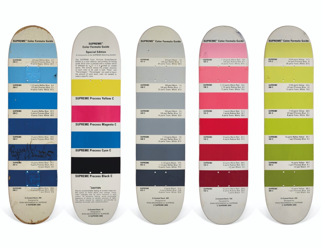 A SET OF FIVE SIGNED RYAN MCGINNESS PANTONE SKATEBOARDS