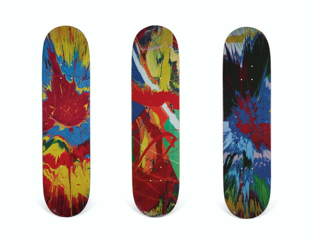A SET OF THREE DAMIEN HIRST SPIN SKATEBOARDS