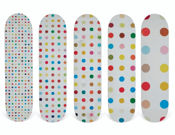 A SET OF FIVE DAMIEN HIRST DOTS SKATEBOARDS