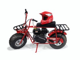 A COLEMAN CT200U MINI BIKE & A FOX RACING RED V2 HELMET