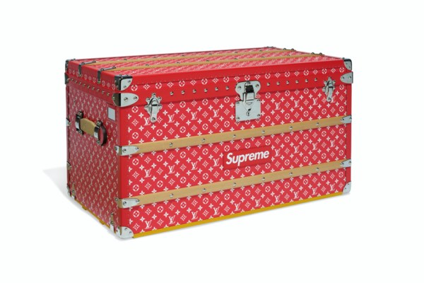 A LIMITED EDITION RED & WHITE MONOGRAM MALLE COURRIER 90 TRUNK WITH SILVER HARDWARE BY SUPREME