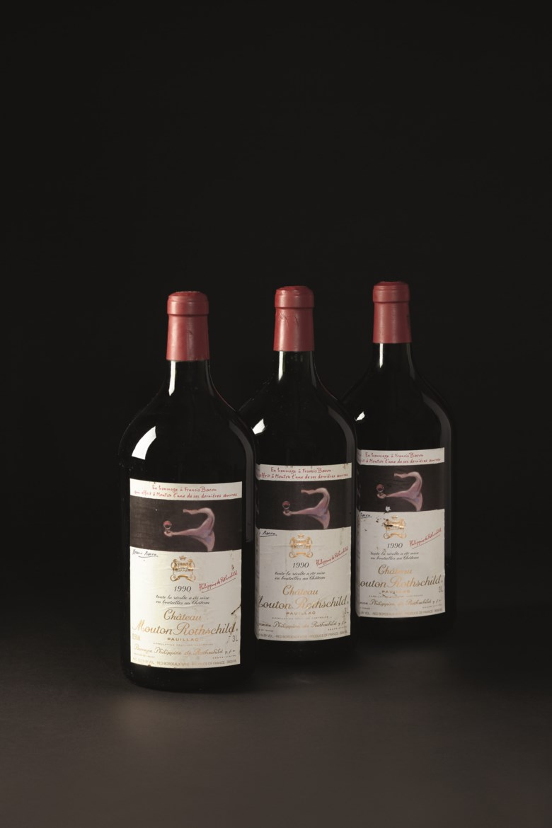Château Mouton-Rothschild 1990, 3 double magnums per lot. Estimate $3,800-4,500. This lot is offered in Finest & Rarest Wines and Spirits on 7 June 2019 at Christie's in New York