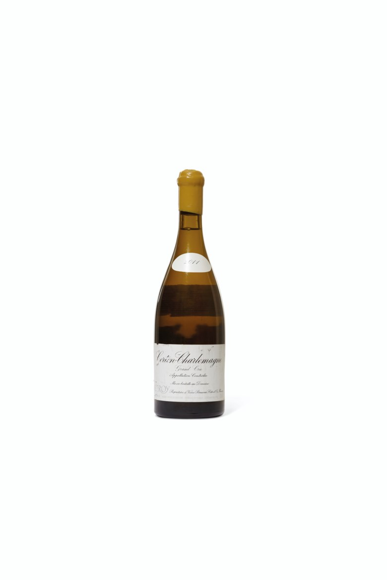Domaine Leroy, Corton-Charlemagne 2011, 1 bottle per lot. Estimate $1,500-2,400. Offered in Finest & Rarest Wines Including Three Superb Private Collections on 11 October 2019 at Christie's in New York