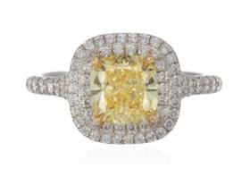 TIFFANY & CO. 'SOLESTE' COLORED DIAMOND AND DIAMOND RING