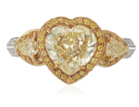 COLORED DIAMOND AND DIAMOND RING WITH GIA REPORT