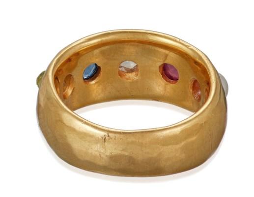 DARLENE DE SEDLE MULTI-GEM AND GOLD RING