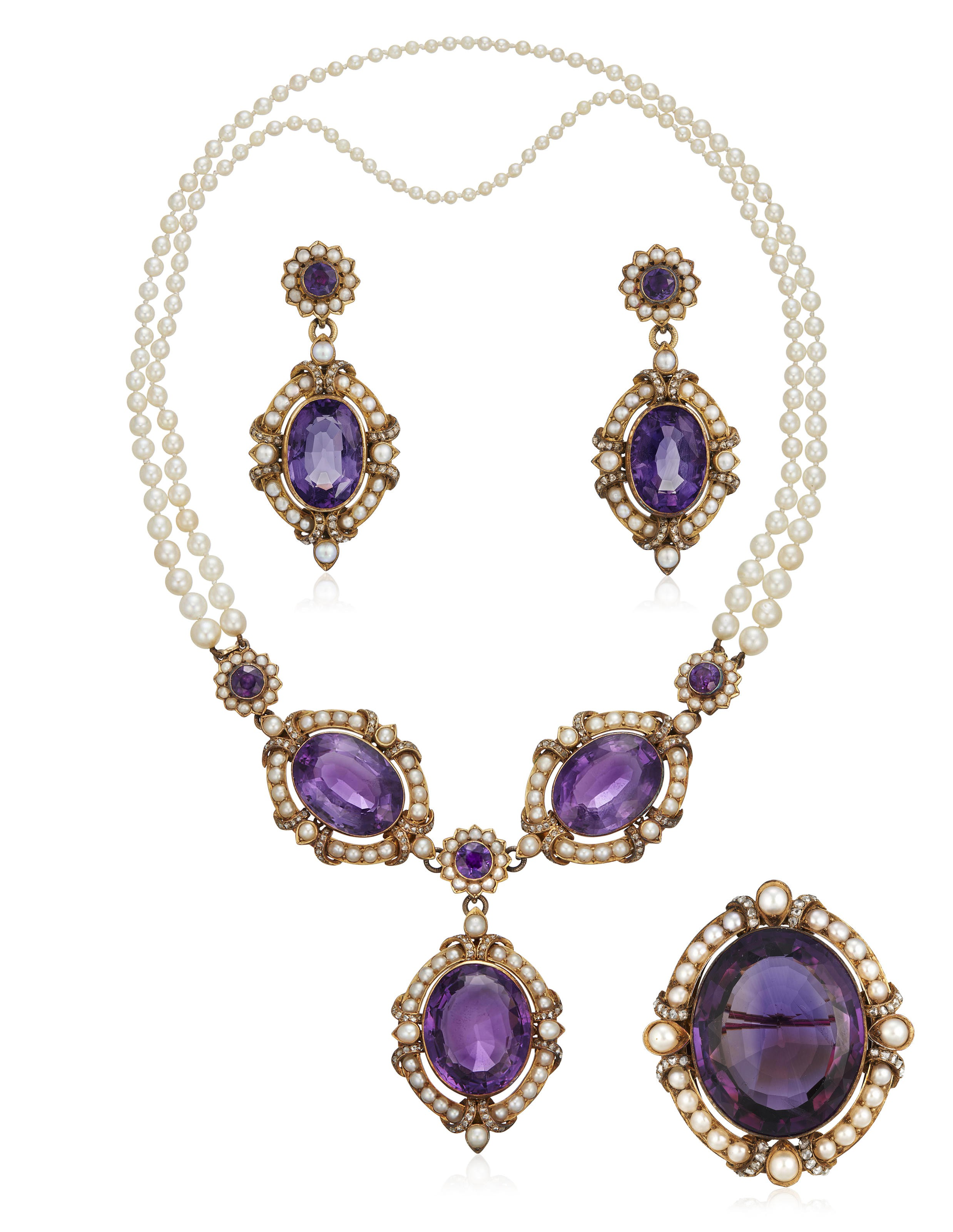 Amethyst and pearl necklace set AMETHYST And PEARL NECKLACE