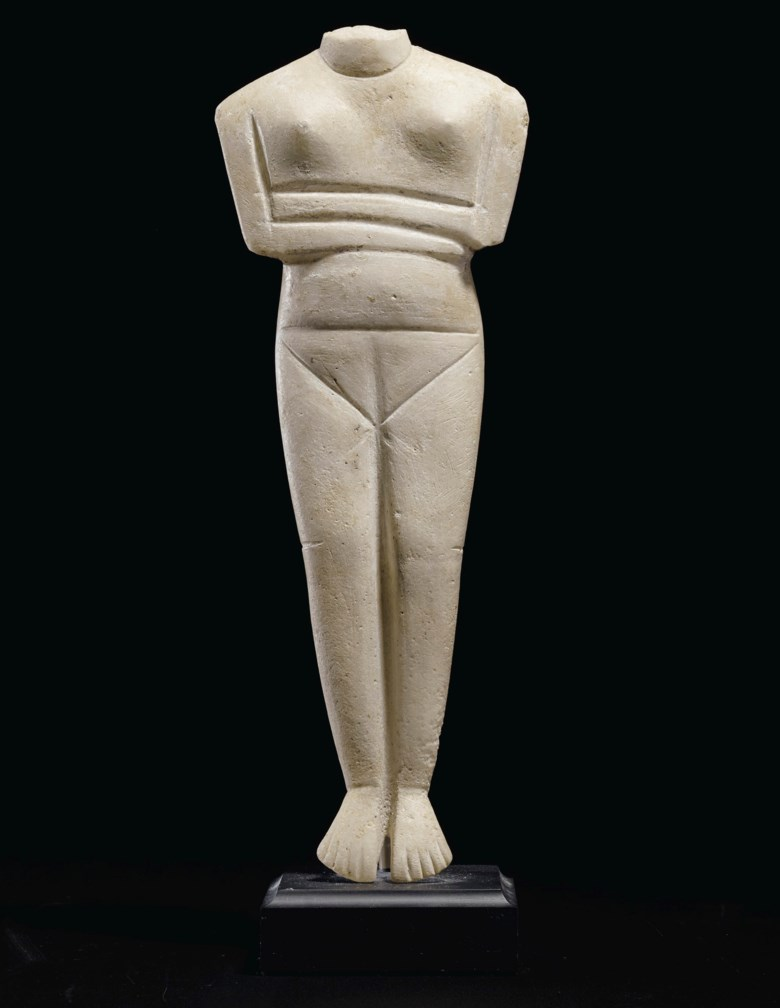 A Cycladic marble female figure, Late Spedos to Dokathismata variety, early Cycladic II circa 2400 B.C.. 10 916 (26.8 cm) high. Estimate $80,000-120,000. Offered in Antiquities on 28 October 2019 at Christie's in New York