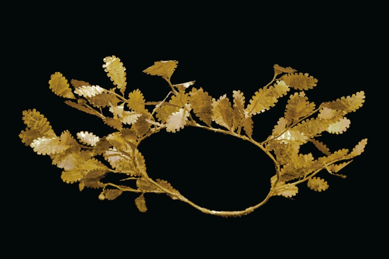 A Greek gold oak wreath, late classical to early Hellenistic period, circa 3rd-4th century BC.17½  in (44.4  cm) wide. Estimate $150,000-250,000. Offered in Antiquities on 28 October 2019 at Christie's in New York