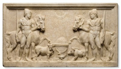 A ROMAN MARBLE RELIEF WITH THE
