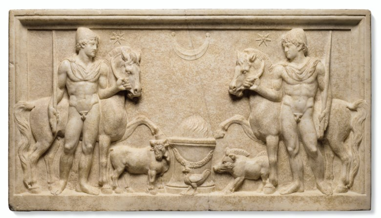 A Roman marble relief with the Dioscuri, Hadrianic period, circa early 2nd century AD. 38⅜ in (97.4 cm) long. Sold for $735,000 on 28 October 2019 at Christie's in New York