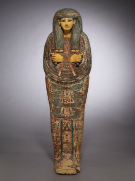 AN EGYPTIAN PAINTED WOOD ANTHROPOID COFFIN FOR PA-DI-TU-AMUN