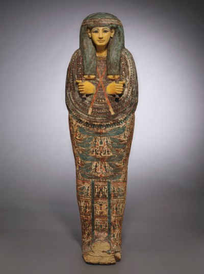 AN EGYPTIAN PAINTED WOOD ANTHR