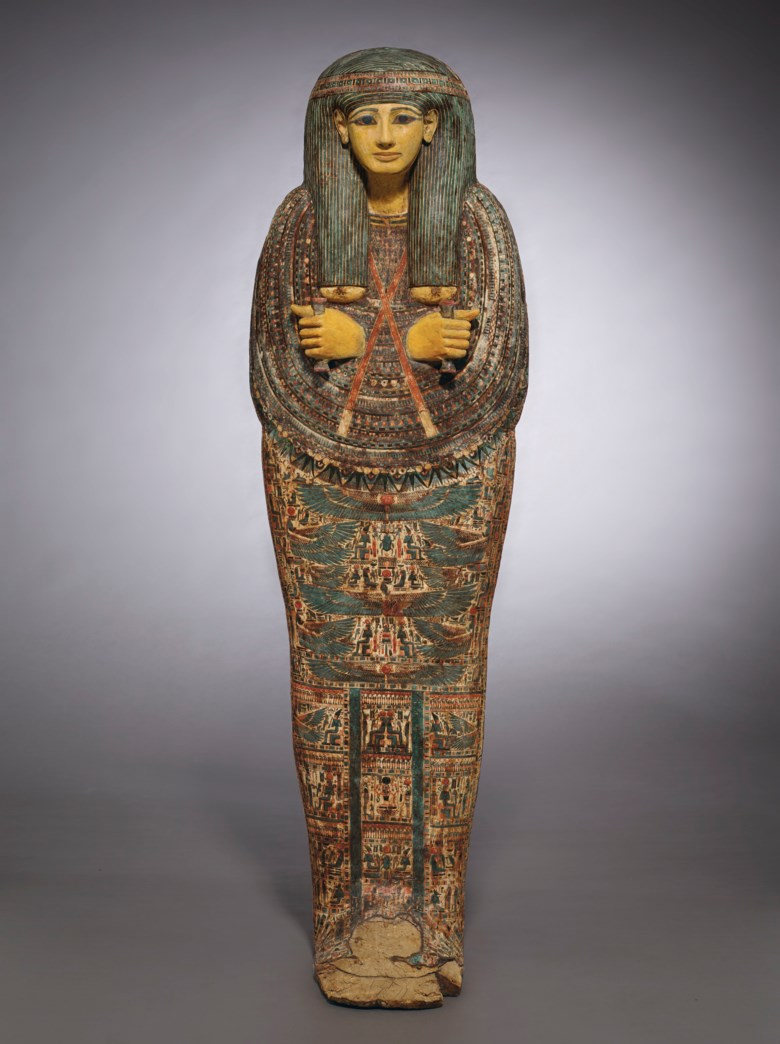 An Egyptian painted wood anthropoid coffin for Pa-di-tu-Amun, Third Intermediate period, 21st-22nd dynasty, circa 945-889 BC. 71⅞  in (182.5  cm) high. Sold for $3,255,000 on 28 October 2019 at Christie's in New York