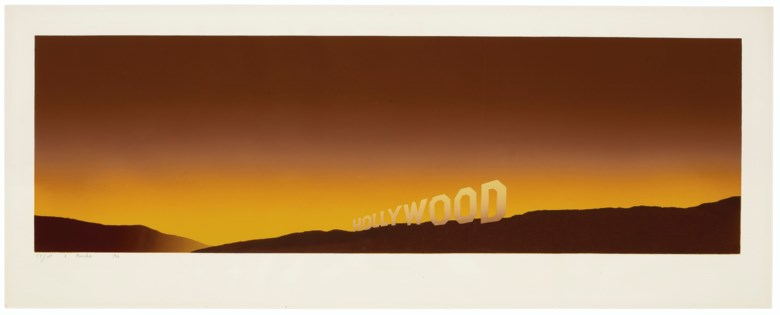 Ed Ruscha, Hollywood, 1968. Screenprint in colours. Sheet 17⅜ x 44⅜  in (44 x 113  cm). Estimate $80,000-120,000. Offered in Thirtyfive Works by Ed Ruscha on 27 September 2019 at Christie's in New York
