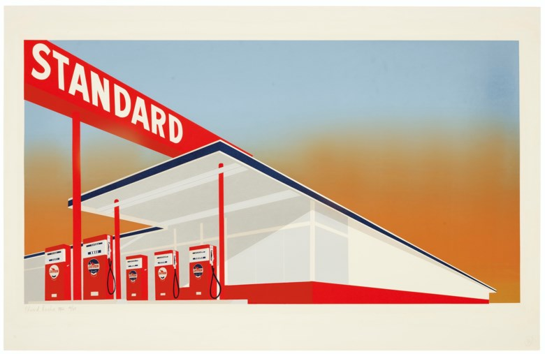 Ed Ruscha, Standard Station, 1966. Screenprint in colours. Sheet 25⅝ x 39⅞  in (65 x 101  cm). Estimate $200,000-300,000. Offered in Thirtyfive Works by Ed Ruscha on 27 September 2019 at Christie's in New York