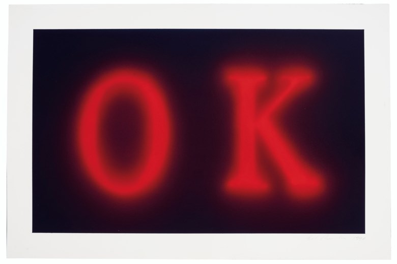 Ed Ruscha, OK, executed in 1990. Acrylic on paper. 20 x 30  in (50.8 x 76.2  cm). Estimate $300,000-500,000. Offered in Thirtyfive Works by Ed Ruscha on 27 September 2019 at Christie's in New York