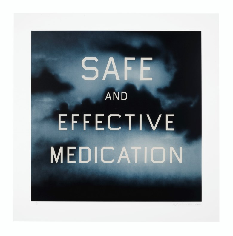Ed Ruscha, Safe and Effective Medication, 2001. Lithograph in colours. Sheet 35½ x 35  in (90 x 89  cm). Estimate $30,000-50,000. Offered in Thirtyfive Works by Ed Ruscha on 27 September 2019 at Christie's in New York