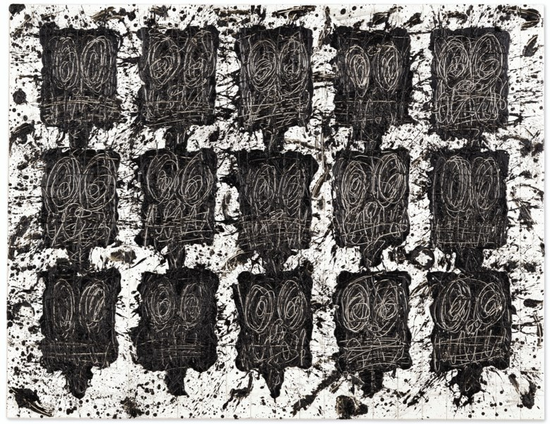 Rashid Johnson (b. 1977), Untitled Anxious Audience, executed in 2018. Black soap and wax on ceramic tiles. 73 x 94¼  in (185.4 x 239.4  cm). Sold for $879,000on 13 November 2019 at Christie's in New York