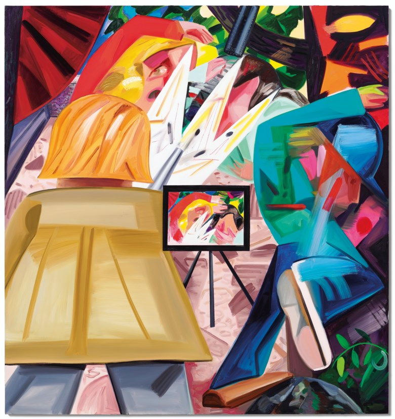 Dana Schutz (b. 1976), Shooting on the Air, painted in 2016. Oil on canvas. 96 x 90  in (243.8 x 228.6  cm). Sold for $1,095,000on 13 November 2019 at Christie's in New York