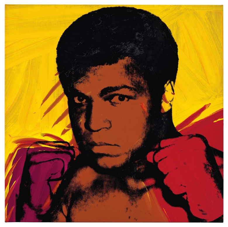Andy Warhol (1928-1987), Muhammad Ali, painted in 1977. Acrylic and silkscreen ink on canvas. 40 x 40  in (101.6 x 101.6  cm). Sold for $10,036,000on 13 November 2019 at Christie's in New York