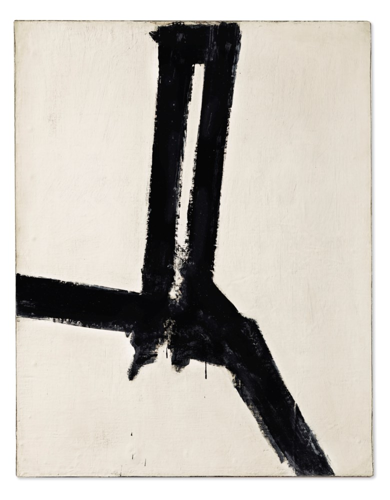 Franz Kline (1910-1962), Untitled, painted in 1955. Oil on canvas mounted on Masonite. 42 x 33  in (106.6 x 83.8  cm). Sold for $3,375,000on 13 November 2019 at Christie's in New York
