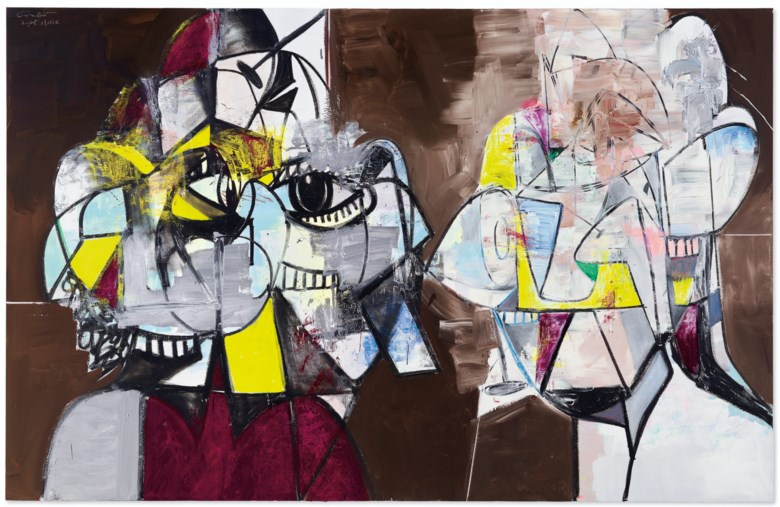 George Condo (b. 1957), Untitled, painted in 2016. 90 x 140 in (228.6 x 355.6 cm). Estimate $3,000,000-5,000,000. Offered in Post-War and Contemporary Art Evening Sale on 13 November 2019 at Christie's in New York