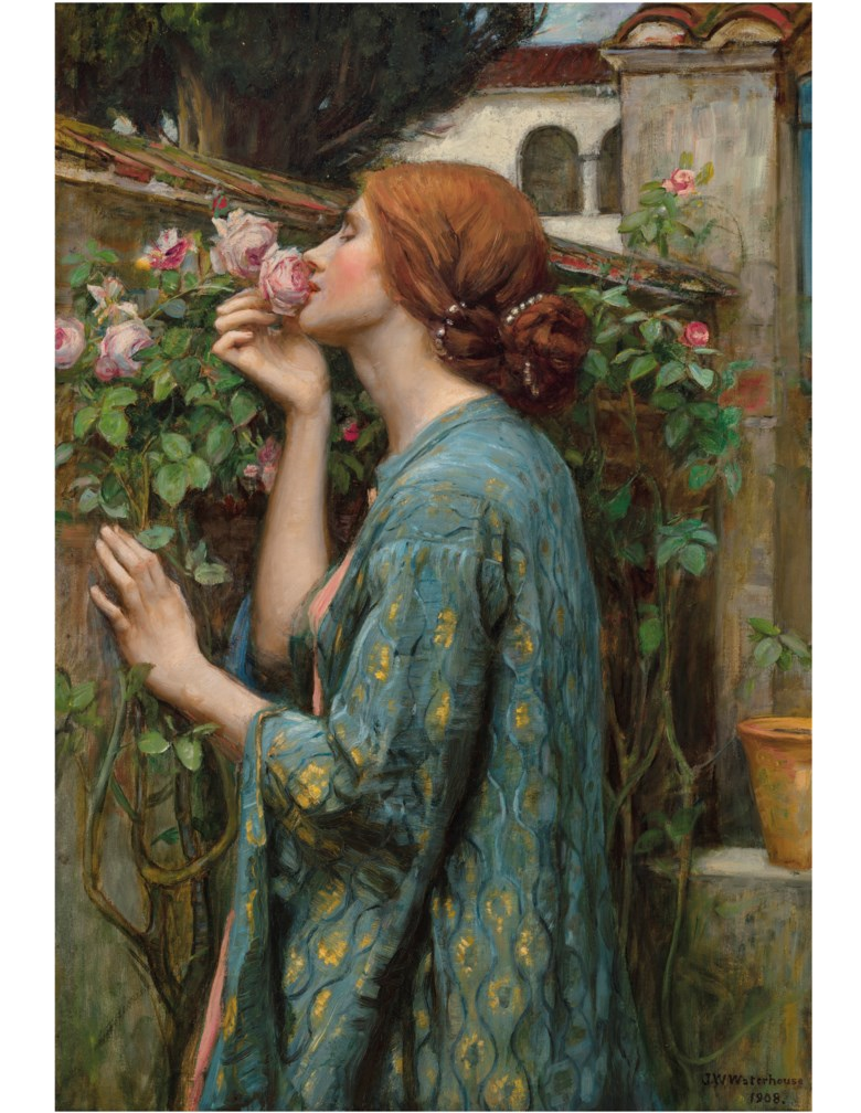 John William Waterhouse, R.A. (British, 1849-1917), The Soul of the Rose. 34⅝ x 23¼  in (88 x 59.1  cm). Sold for $4,695,000 on 28 October 2019 at Christie's in New York