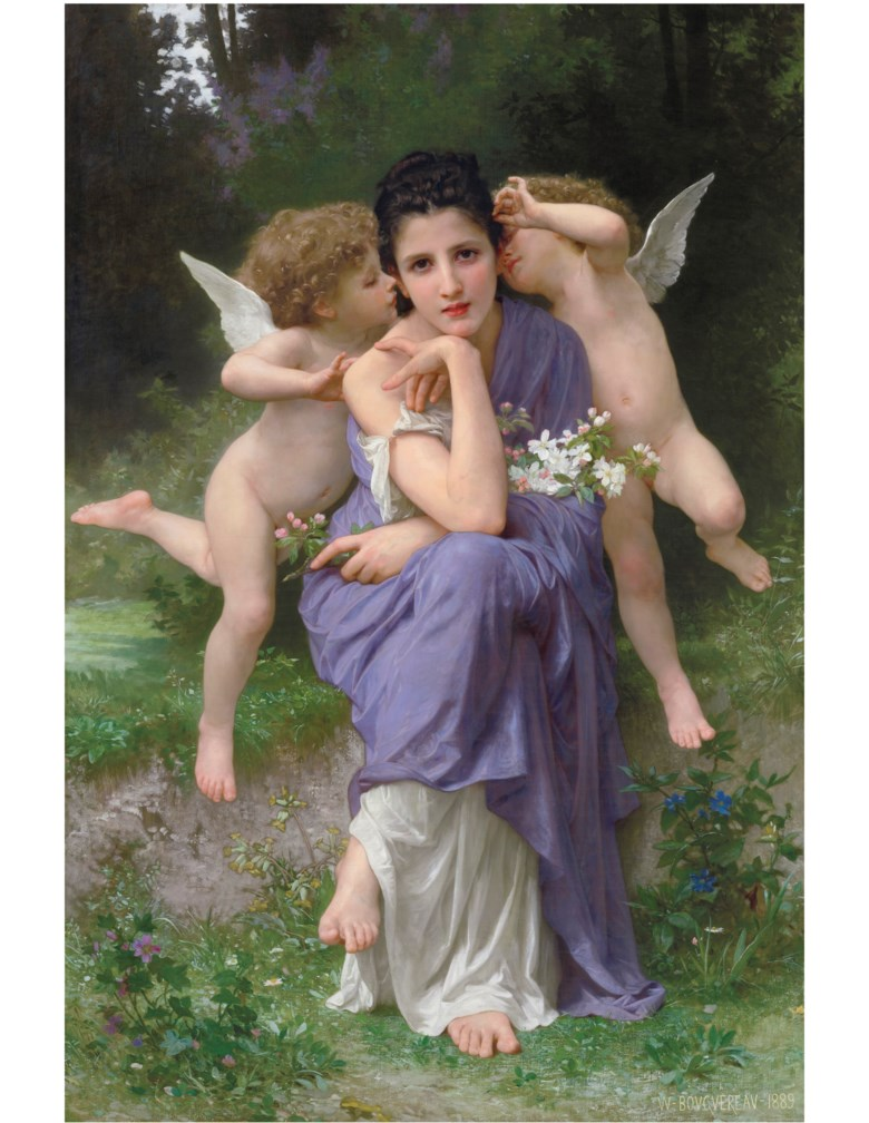 William Adolphe Bouguereau (French, 1825-1905), Chansons de printemps. 58¼ x 39  in (148 x 99  cm). Sold for $3,615,000 on 28 October 2019 at Christie's in New York