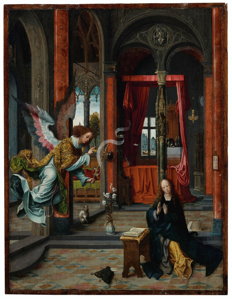 Jan de Beer (c. 1475-1528 or earlier), The Annunciation. 26¾ x 20⅝  in (67.9 x 52.4  cm). Sold for $1,215,000 on 29 October 2019 at Christie's in New York
