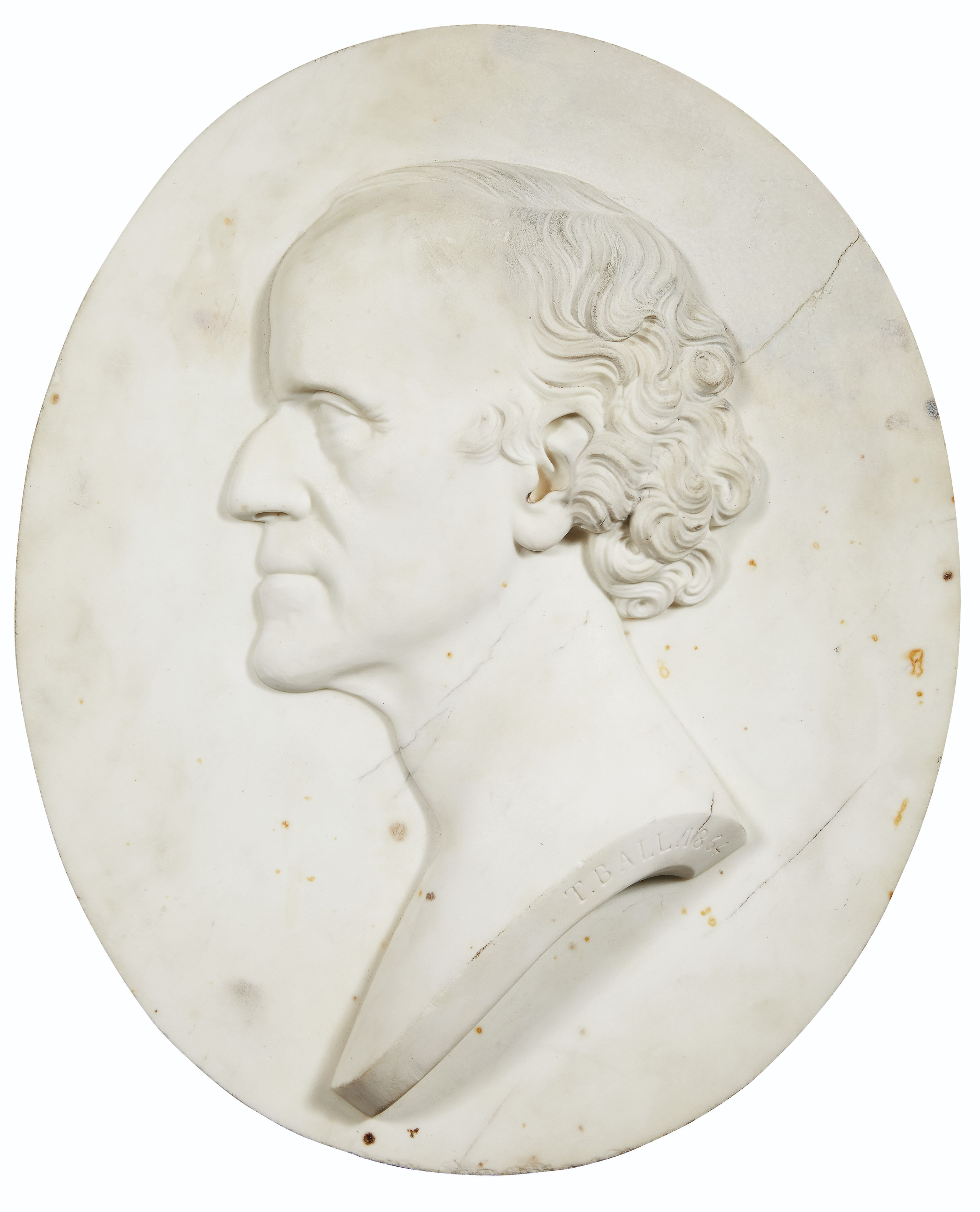 A WHITE MARBLE OVAL RELIEF PORTRAIT OF A GENTLEMAN