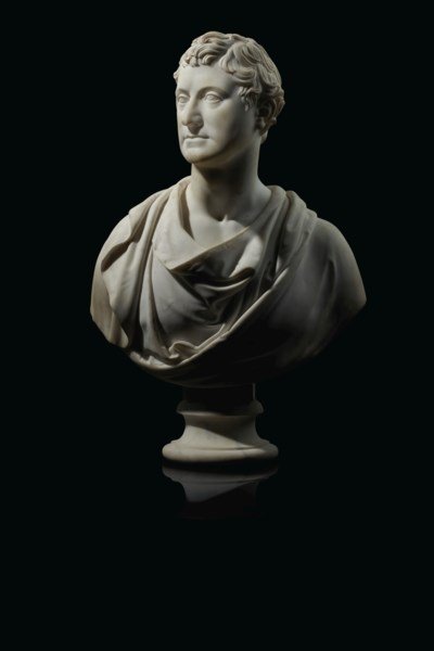 A WHITE MARBLE BUST OF GEORGE