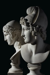 A PAIR OF PLASTER BUSTS OF PARIS AND HELEN