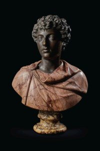 A BRONZE AND MARBLE BUST OF THE YOUNG MARCUS AURELIUS