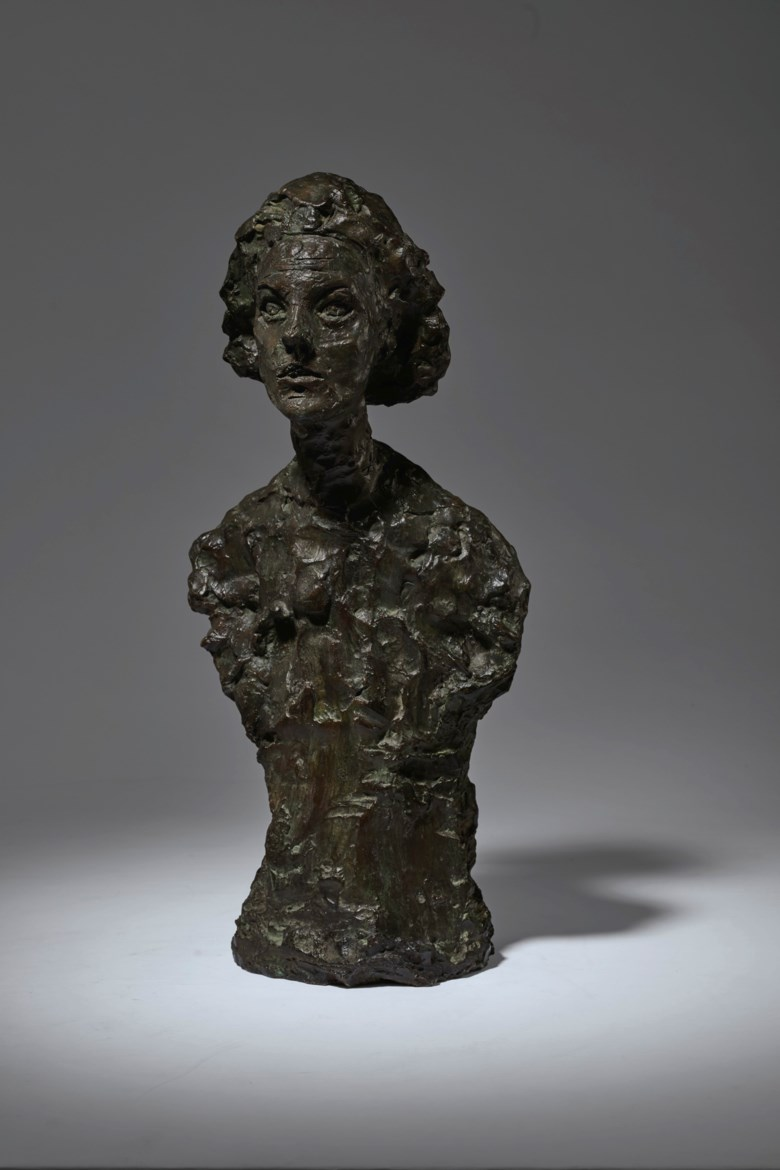 Alberto Giacometti (1901-1966), Buste d'Annette VIII, conceived in 1962 and cast in 1965. Bronze with brown and green patina. 23 in (58.5 cm) high. Sold for $3,135,000 on 11 November 2019 at Christie's in New York. Artwork © The Estate of Alberto Giacometti (Fondation Giacometti, Paris and ADAGP, Paris), licensed in the UK by ACS and DACS, London 2020