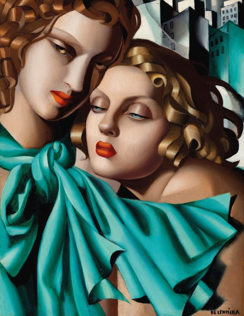 Tamara de Lempicka (1898-1980), Les jeunes filles, circa 1930. Oil on panel. 13¾ x 10⅝  in (35 x 27  cm). Sold for $5,269,000 on 11 November 2019 at Christie's in New York.Artwork © Tamara de Lempicka Estate, LLC  ADAGP, Paris and DACS, London 2020